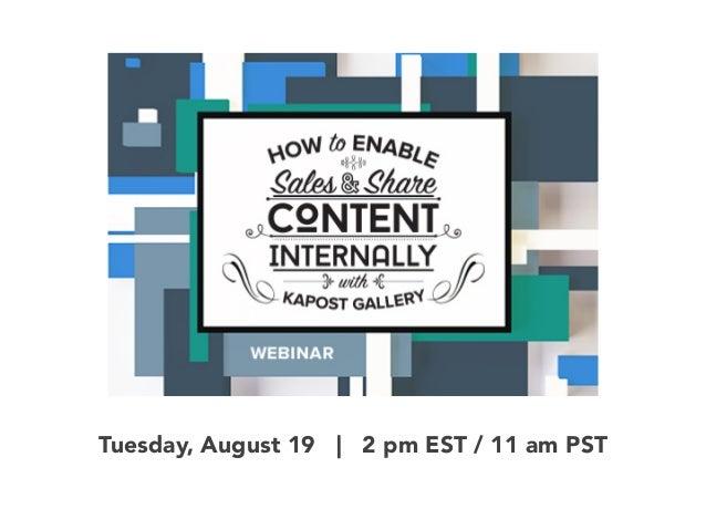 Tuesday, August 19 | 2 pm EST / 11 am PST