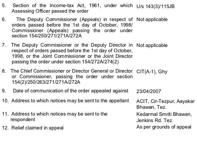 Appeal formatpttl appeals the assessing officer passing the original order acit cir tezpur 19 altavistaventures Gallery
