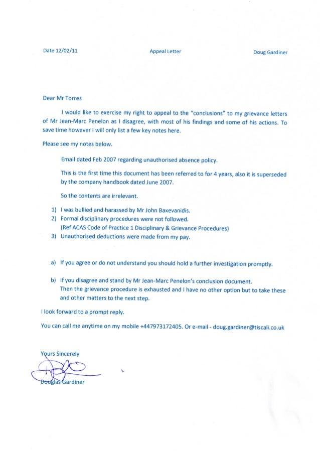 Date 12 02 11 Appeal Letter Doug Gardiner Dear Mr Torres I Would Like