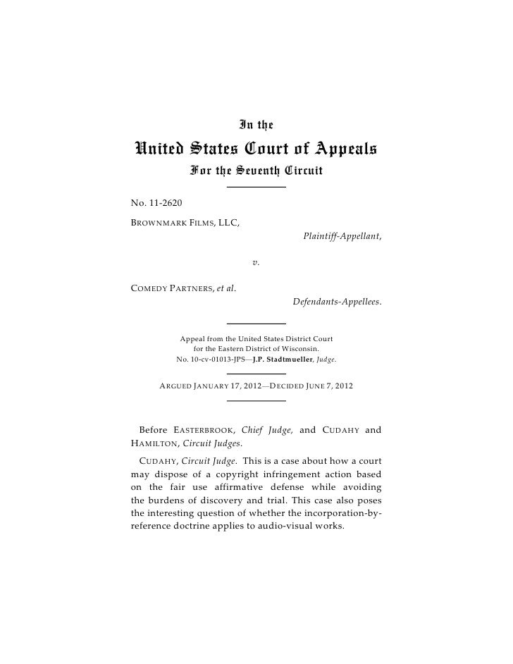 In theUnited States Court of Appeals              For the Seventh CircuitNo. 11-2620B ROWNMARK F ILMS, LLC,               ...