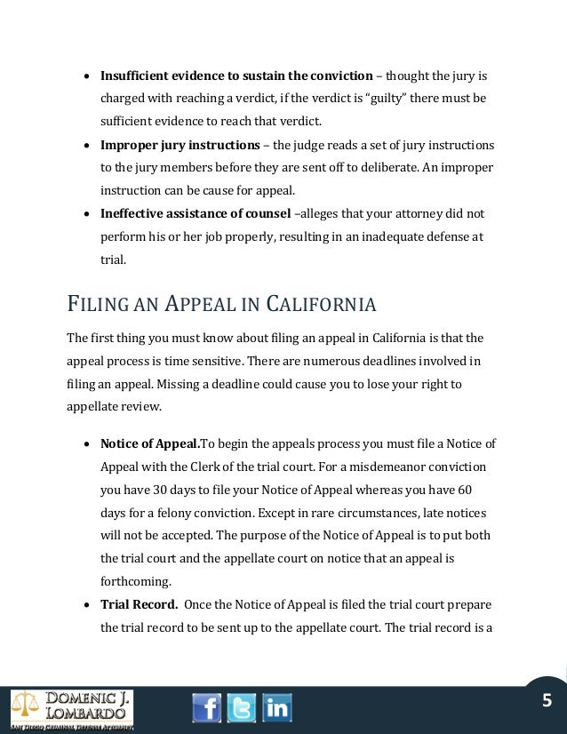 Appealing A Criminal Conviction In California