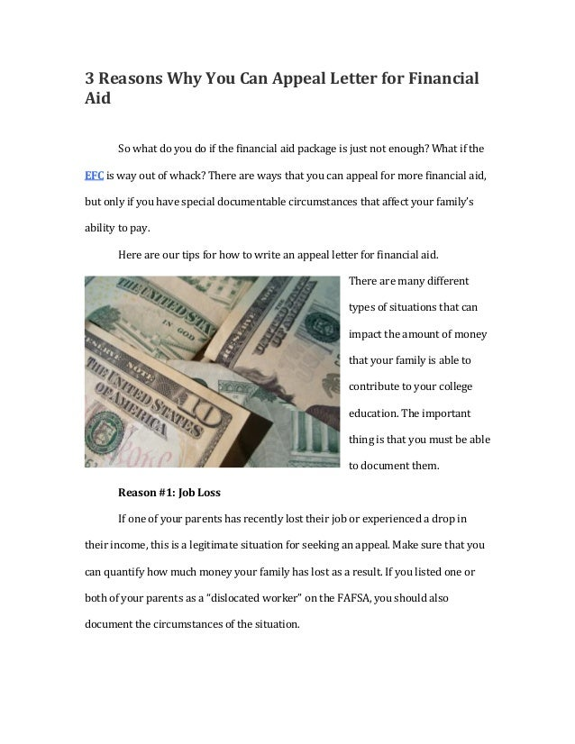 3 Reasons Why You Can Appeal Letter For Financial Aid So What Do You Do If  ...  How To Write A Appeal Letter