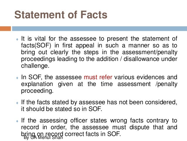 Representation before applellate authorities statement of facts altavistaventures Gallery