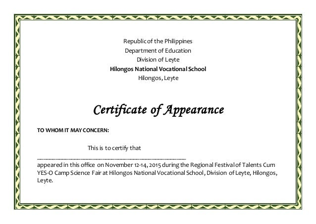 Appearance for Certificate of appearance template