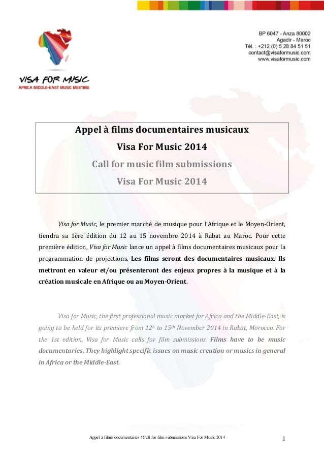 Appel à films documentaires / Call for film submissions Visa For Music 2014 1 Appel à films documentaires musicaux Visa Fo...