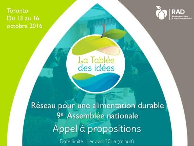 Appel propositions - la Tablée des idées 2016