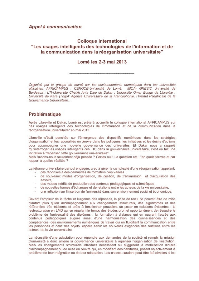 "Appel à communication                      Colloque international ""Les usages intelligents des technologies de linformatio..."