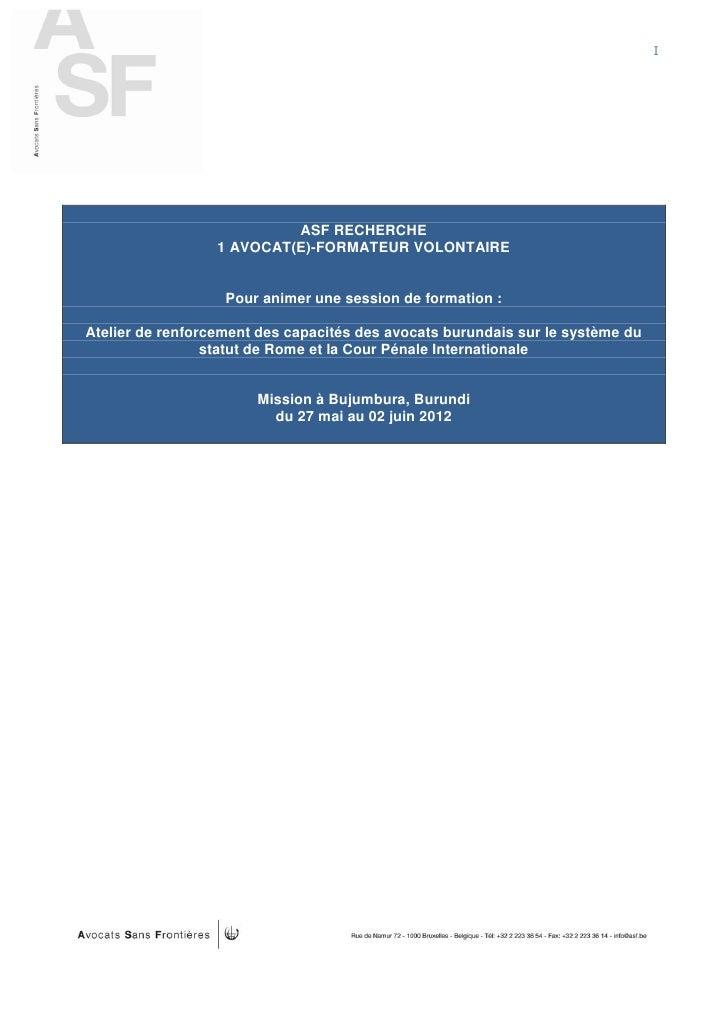 I                           ASF RECHERCHE                  1 AVOCAT(E)-FORMATEUR VOLONTAIRE                   Pour animer ...