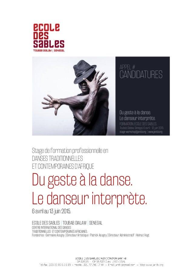 Stagedeformationprofessionnelleen DANSESTRADITIONNELLES ETCONTEMPORAINESD'AFRIQUE Du geste à la danse. Le danseur interprè...