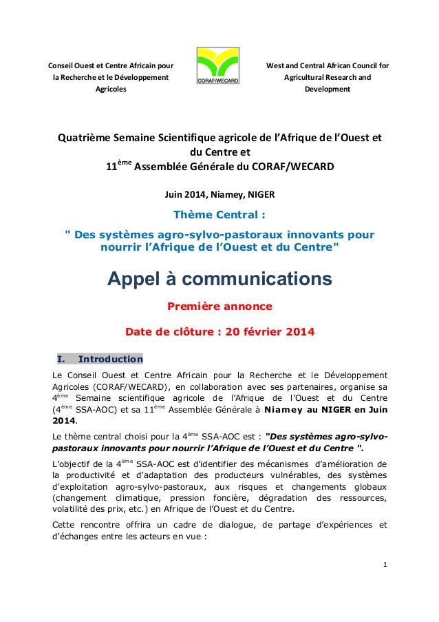 Conseil  Ouest  et  Centre  Africain  pour   la  Recherche  et  le  Développement   Agricol...