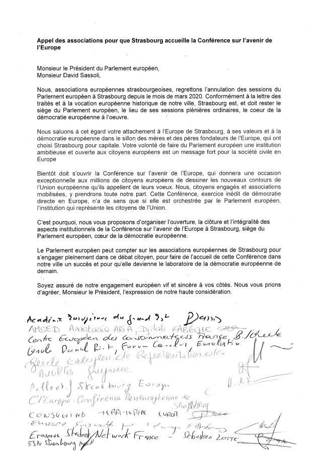 Appel des associations pour que Strasbourg accueille la Conférence sur l'avenir de l'Europe