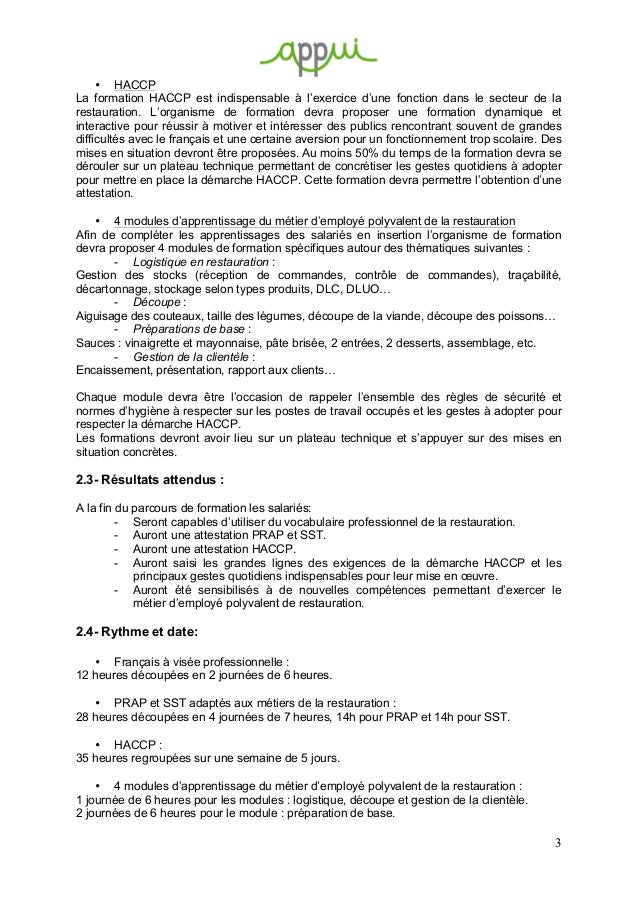 Appel d 39 offre formation restauration for Formation restauration scolaire