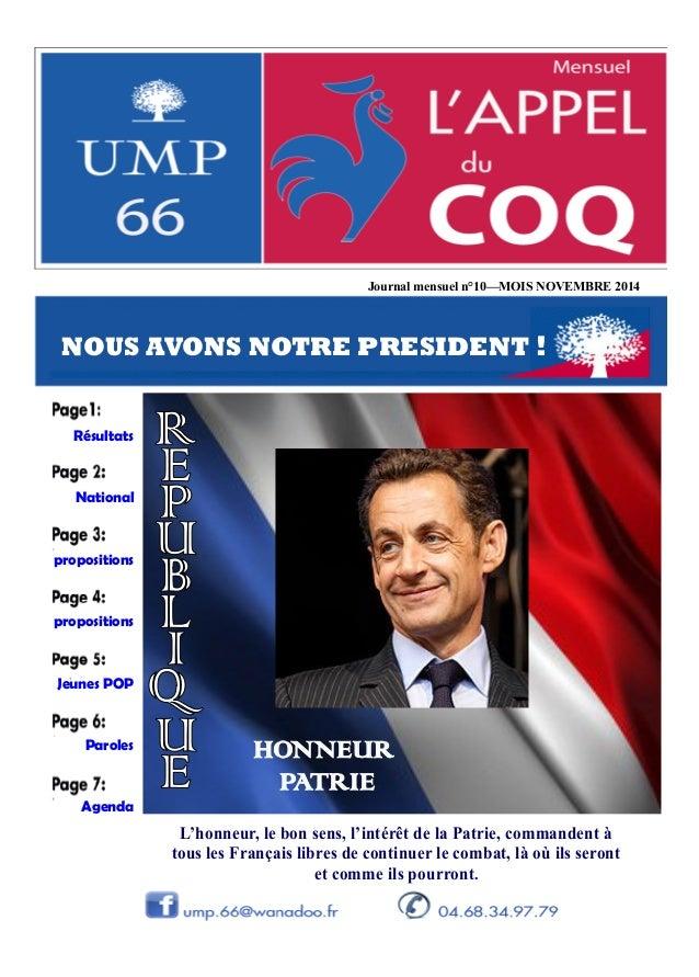 Journal mensuel n°10 MOIS NOVEMBRE 2014 propositions Jeunes POP Paroles Agenda National propositions Résultats NOUS AVONS ...
