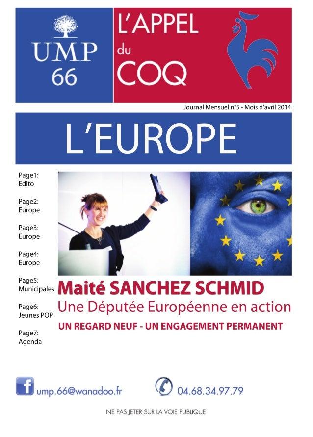 Edito 1 Chers amis, Le 25 mai, vous serez appelés à voter pour désigner les députés qui vous re- présenteront au Parlement...