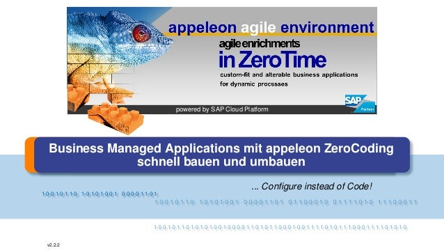 1 0 0 1 0 1 1 0 1 0 1 0 1 0 0 1 0 0 0 0 1 1 0 1 v2.2.2 Business Managed Applications mit appeleon ZeroCoding schnell bauen...
