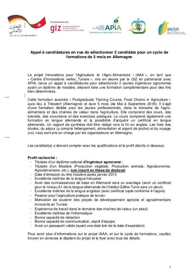 1 Appel à candidatures en vue de sélectionner 2 candidats pour un cycle de formations de 5 mois en Allemagne Le projet Inn...