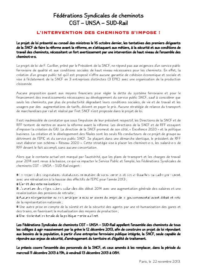 Fédérations Syndicales de cheminots CGT – UNSA – SUD-Rail L'INTERVENTION DES CHEMINOTS S'IMPOSE ! Le projet de loi présent...