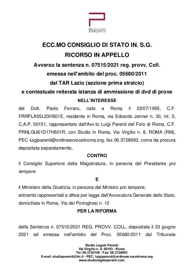 Studio Legale Parenti Via Virgilio n. 8, 00193 - Roma Tel: 06.3720108 - Fax: 06.3728993 E-mail: studioparenti@tin.it - PEC...