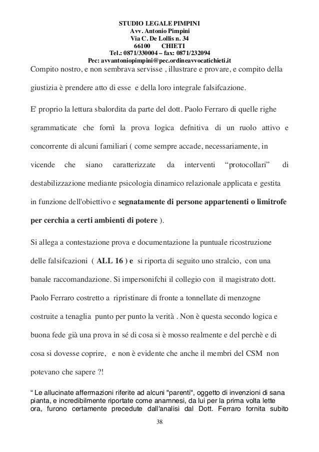 STUDIO LEGALE PIMPINI Avv. Antonio Pimpini Via C. De Lollis n. 34 66100 CHIETI Tel.: 0871/330004 – fax: 0871/232094 Pec: a...