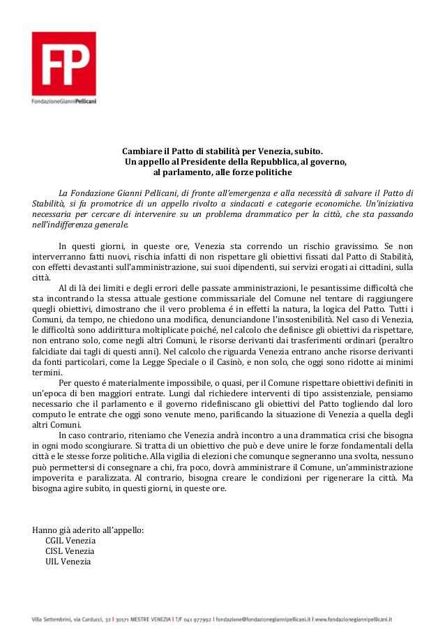 Cambiare il Patto di stabilità per Venezia, subito. Un appello al Presidente della Repubblica, al governo, al parlamento, ...