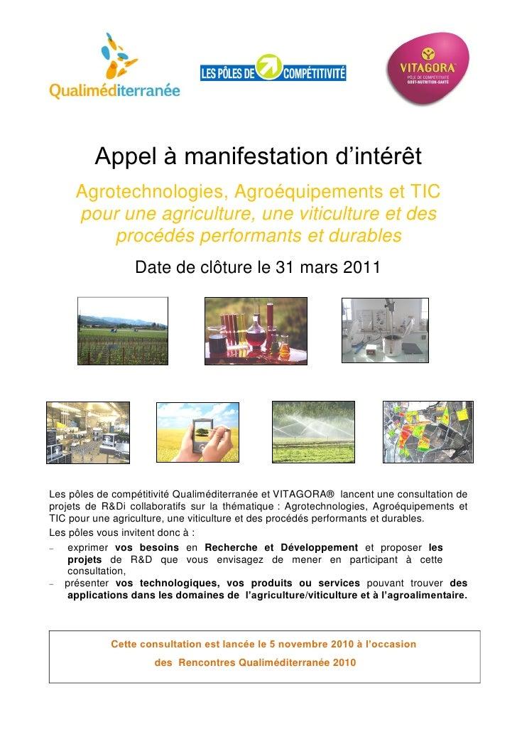 Appel à manifestation d'intérêt     Agrotechnologies, Agroéquipements et TIC     pour une agriculture, une viticulture et ...