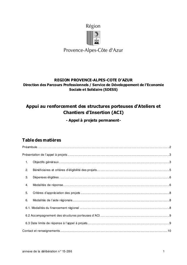 annexe de la délibération n° 15-286 1 REGION PROVENCE-ALPES-COTE D'AZUR Direction des Parcours Professionnels / Service de...