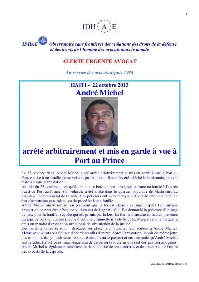 Haïti - Arrestation arbitraire de Me André Michel