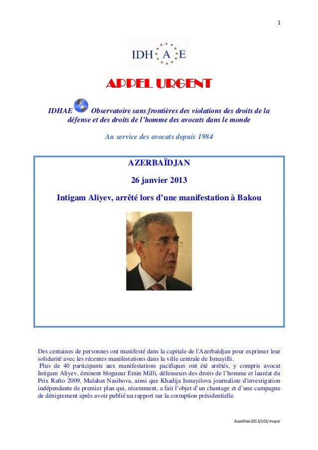 1                          APPEL URGENT    IDHAE      Observatoire sans frontières des violations des droits de la        ...