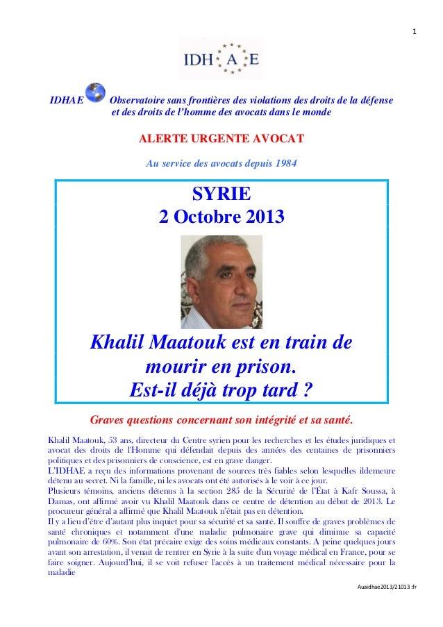1 Auaidhae2013/21013 :fr IDHAE Observatoire sans frontières des violations des droits de la défense et des droits de l'hom...