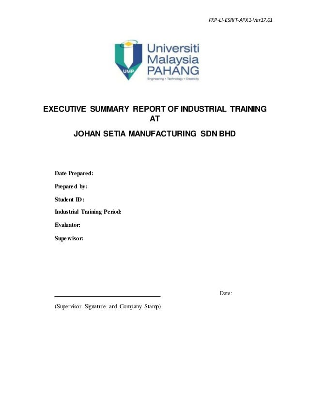 appendix01 executive summary report format of industrial training fkp