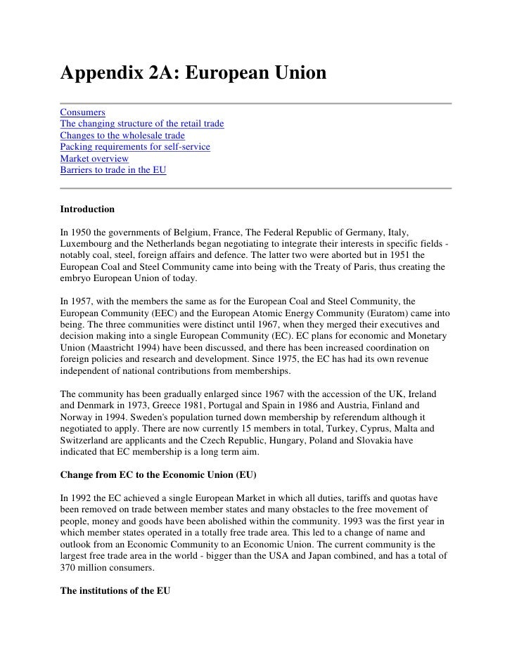 Appendix 2A: European Union<br />ConsumersThe changing structure of the retail tradeChanges to the wholesale tradePacking ...