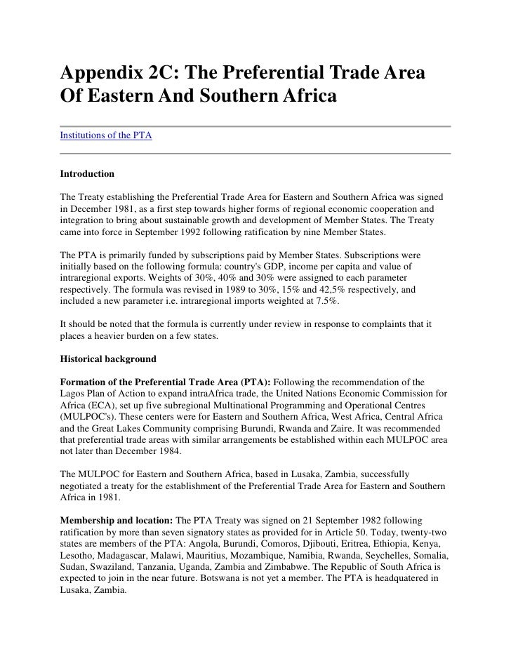 Appendix 2C: The Preferential Trade Area Of Eastern And Southern Africa<br />Institutions of the PTA <br />Introduction <b...