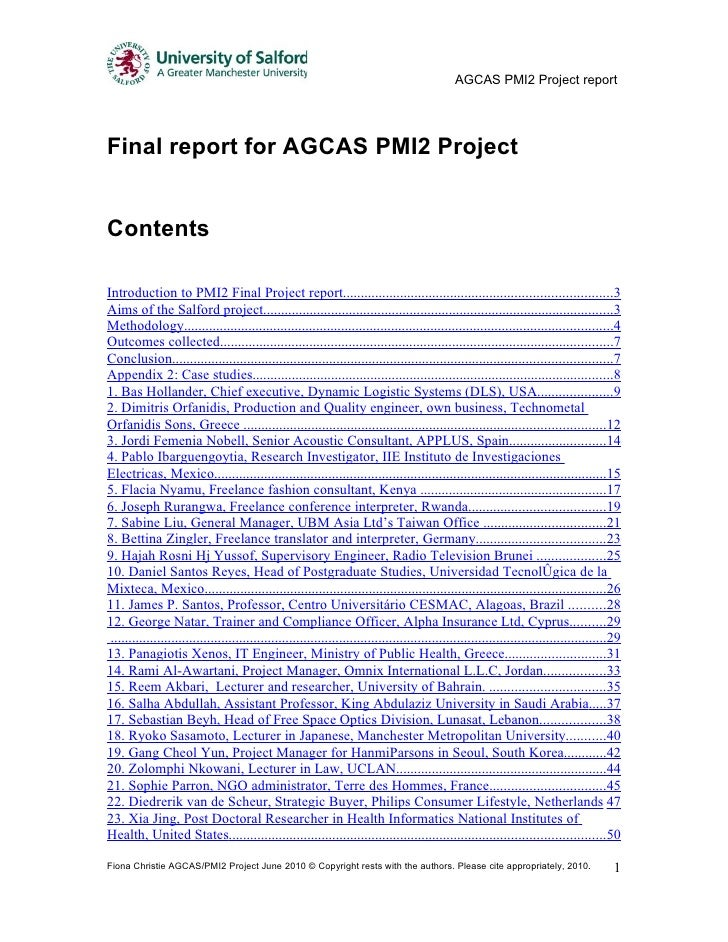 AGCAS PMI2 Project report     Final report for AGCAS PMI2 Project   Contents  Introduction to PMI2 Final Project report......