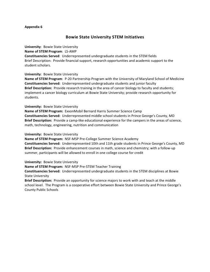 Appendix 6                            Bowie State University STEM Initiatives University: Bowie State University Name of S...