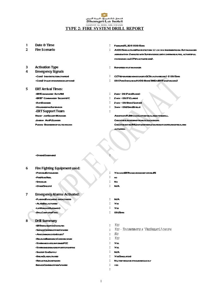 Appendix a.7.6 type 2 fire system drill report code2 chi spa