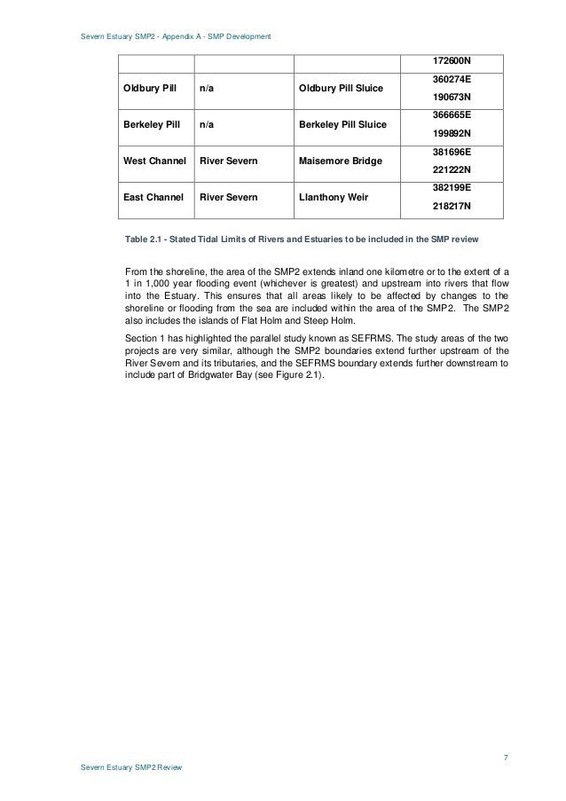 Severn Estuary SMP2 - Appendix A - SMP Development 7 Severn Estuary SMP2 Review 172600N Oldbury Pill n/a Oldbury Pill Slui...