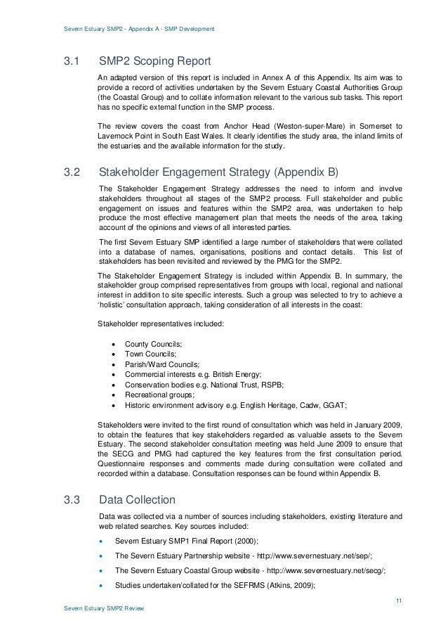 Severn Estuary SMP2 - Appendix A - SMP Development 11 Severn Estuary SMP2 Review 3.1 SMP2 Scoping Report An adapted versio...