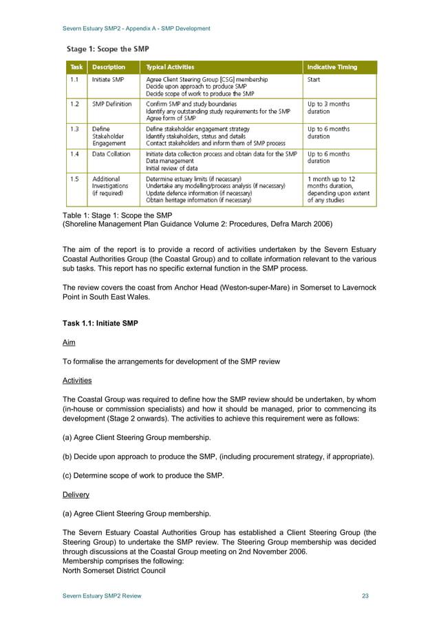 Severn Estuary SMP2 - Appendix A - SMP Development Severn Estuary SMP2 Review 23 Table 1: Stage 1: Scope the SMP (Shorelin...