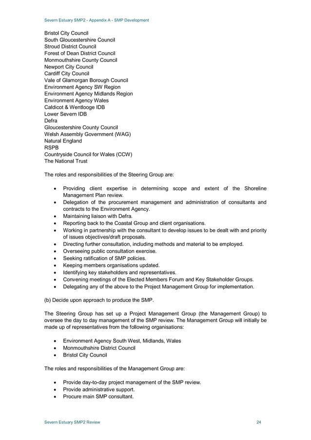 Severn Estuary SMP2 - Appendix A - SMP Development Severn Estuary SMP2 Review 24 Bristol City Council South Gloucestershir...