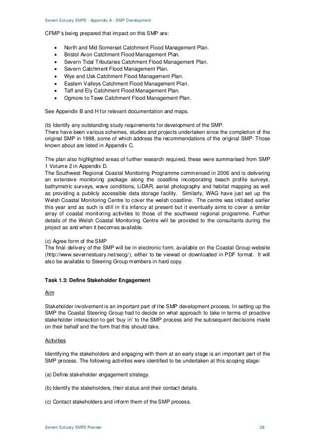 Severn Estuary SMP2 - Appendix A - SMP Development Severn Estuary SMP2 Review 28 CFMP's being prepared that impact on this...