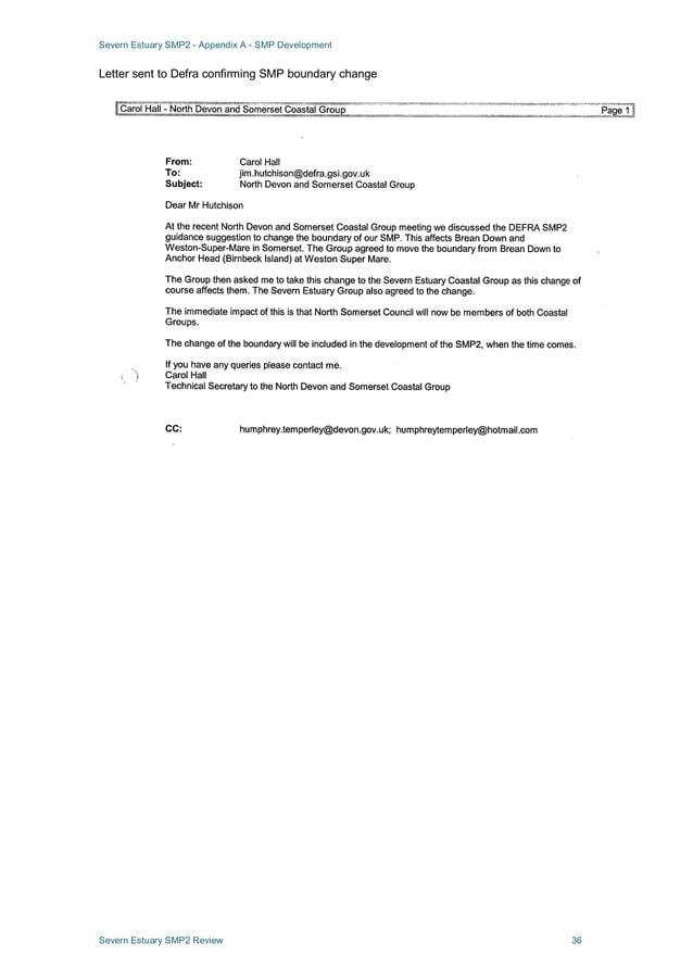 Severn Estuary SMP2 - Appendix A - SMP Development Severn Estuary SMP2 Review 36 Letter sent to Defra confirming SMP bound...