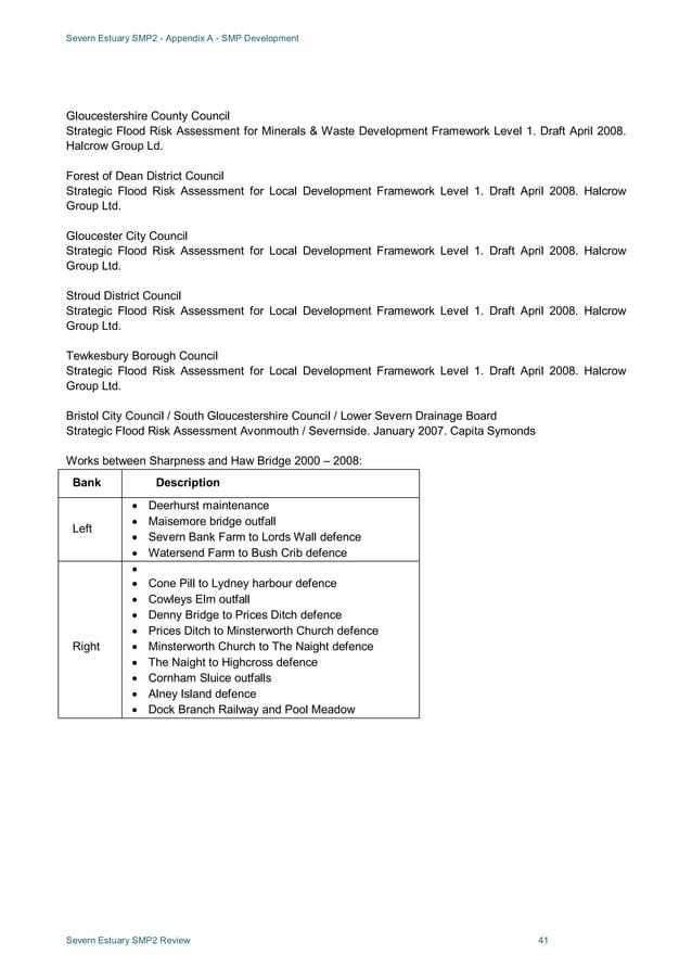 Severn Estuary SMP2 - Appendix A - SMP Development Severn Estuary SMP2 Review 41 Gloucestershire County Council Strategic ...