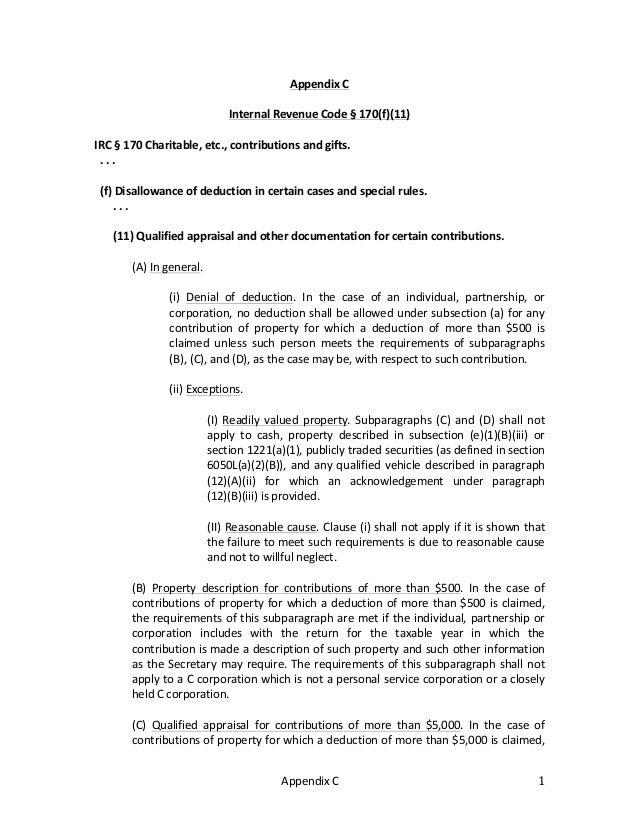 Appendix  C   1   Appendix  C      Internal  Revenue  Code  §  170(f)(11)      IRC  §  170  ...