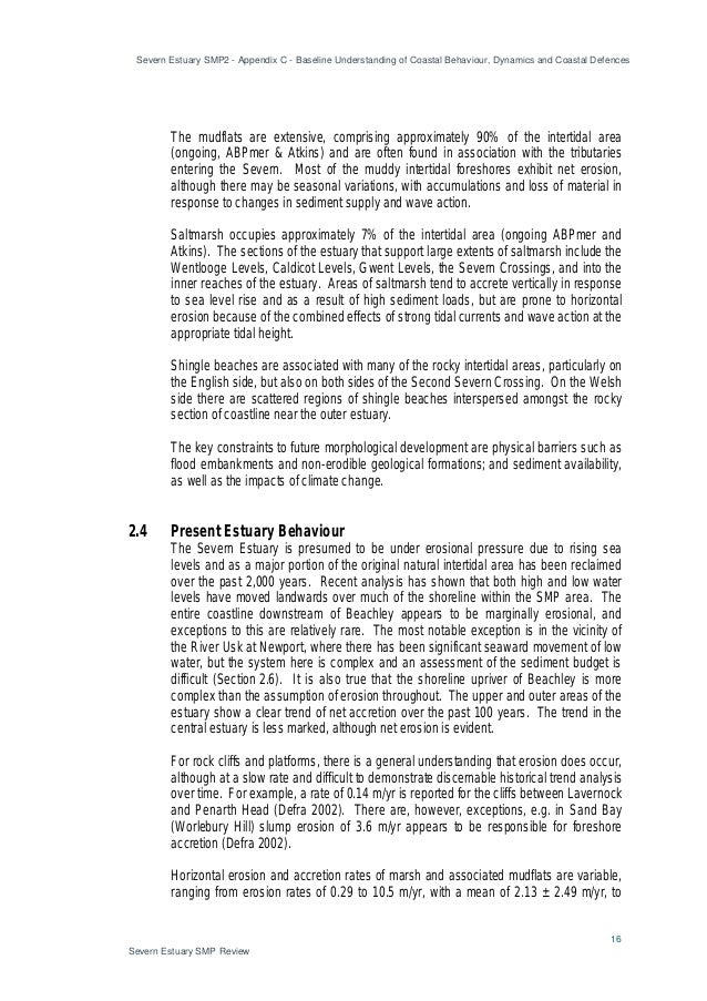 Severn Estuary SMP2 - Appendix C - Baseline Understanding of Coastal Behaviour, Dynamics and Coastal Defences 16 Severn Es...