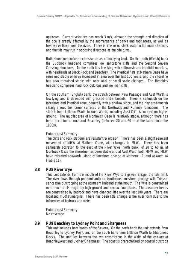 Severn Estuary SMP2 - Appendix C - Baseline Understanding of Coastal Behaviour, Dynamics and Coastal Defences 35 Severn Es...