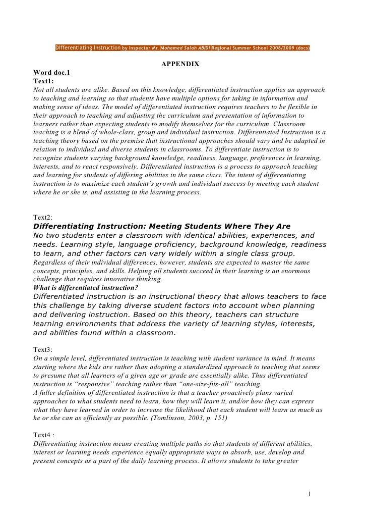 Differentiating Instruction by Inspector Mr. Mohamed Salah ABIDI Regional Summer School 2008/2009 (docs)                  ...