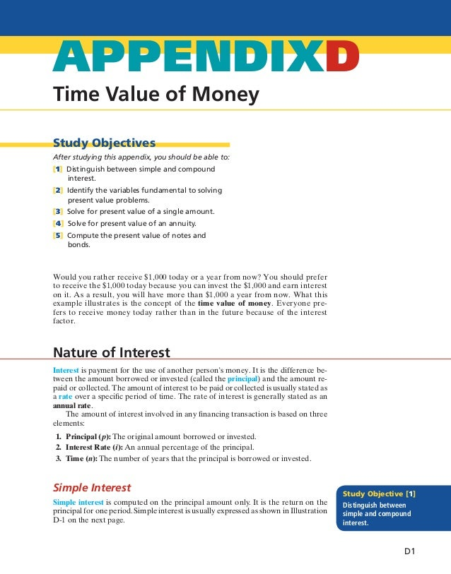 Time Value of Money APPENDIXD Study Objectives After studying this appendix, you should be able to: [1] Distinguish betwee...