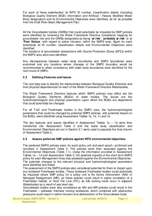 Severn Estuary SMP2 WFD Assessment Version 3 Last printed: 04/05/10 Page 11 For each of these waterbodies' its WFD ID numb...