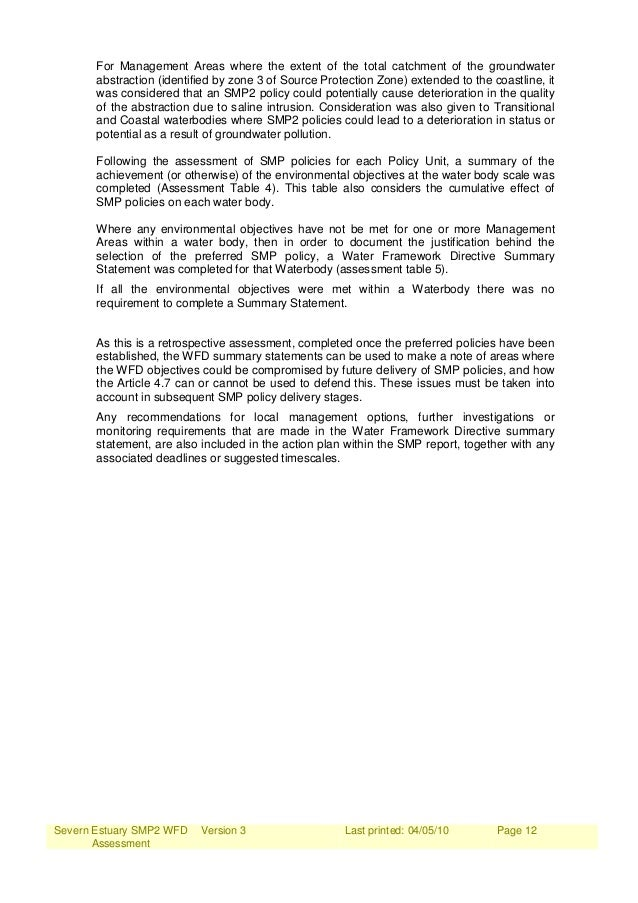 Severn Estuary SMP2 WFD Assessment Version 3 Last printed: 04/05/10 Page 12 For Management Areas where the extent of the t...