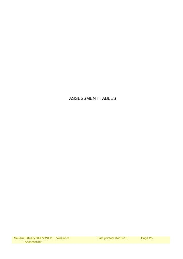 Severn Estuary SMP2 WFD Assessment Version 3 Last printed: 04/05/10 Page 25 ASSESSMENT TABLES